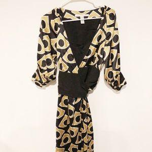 Diane Von Furstenberg Black and Gold Wrap Dress